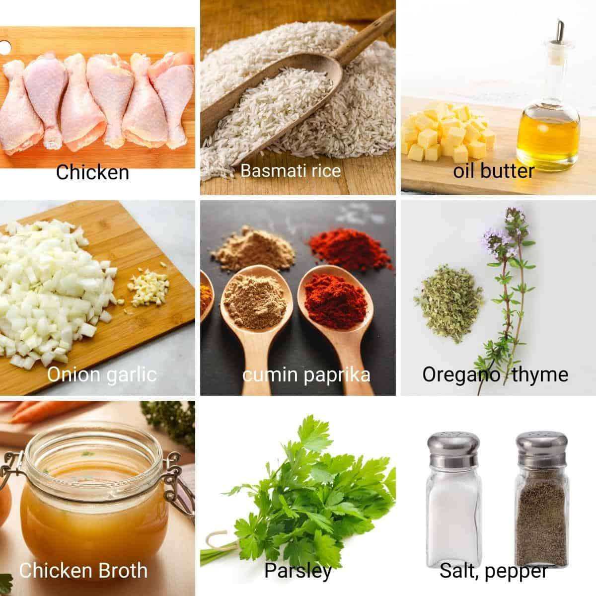Ingredients shot collage for chicken with rice.