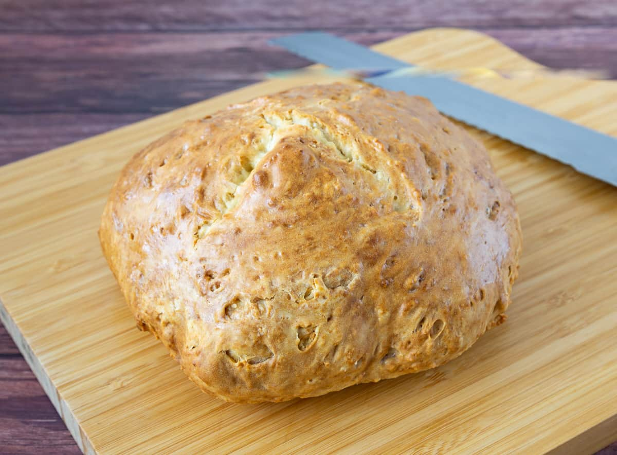 No yeast bread on a wooden board.