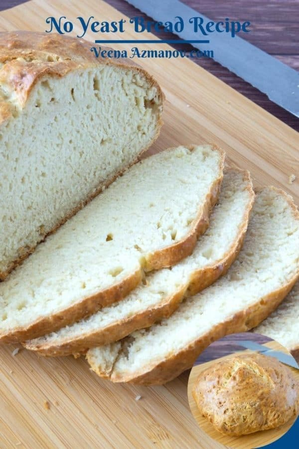 Pinterest image for no yeast bread.