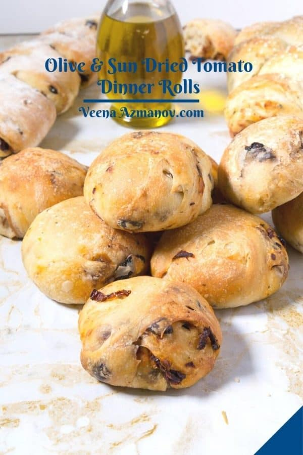 Pinterest image for dinner rolls with sun dried tomatoes.