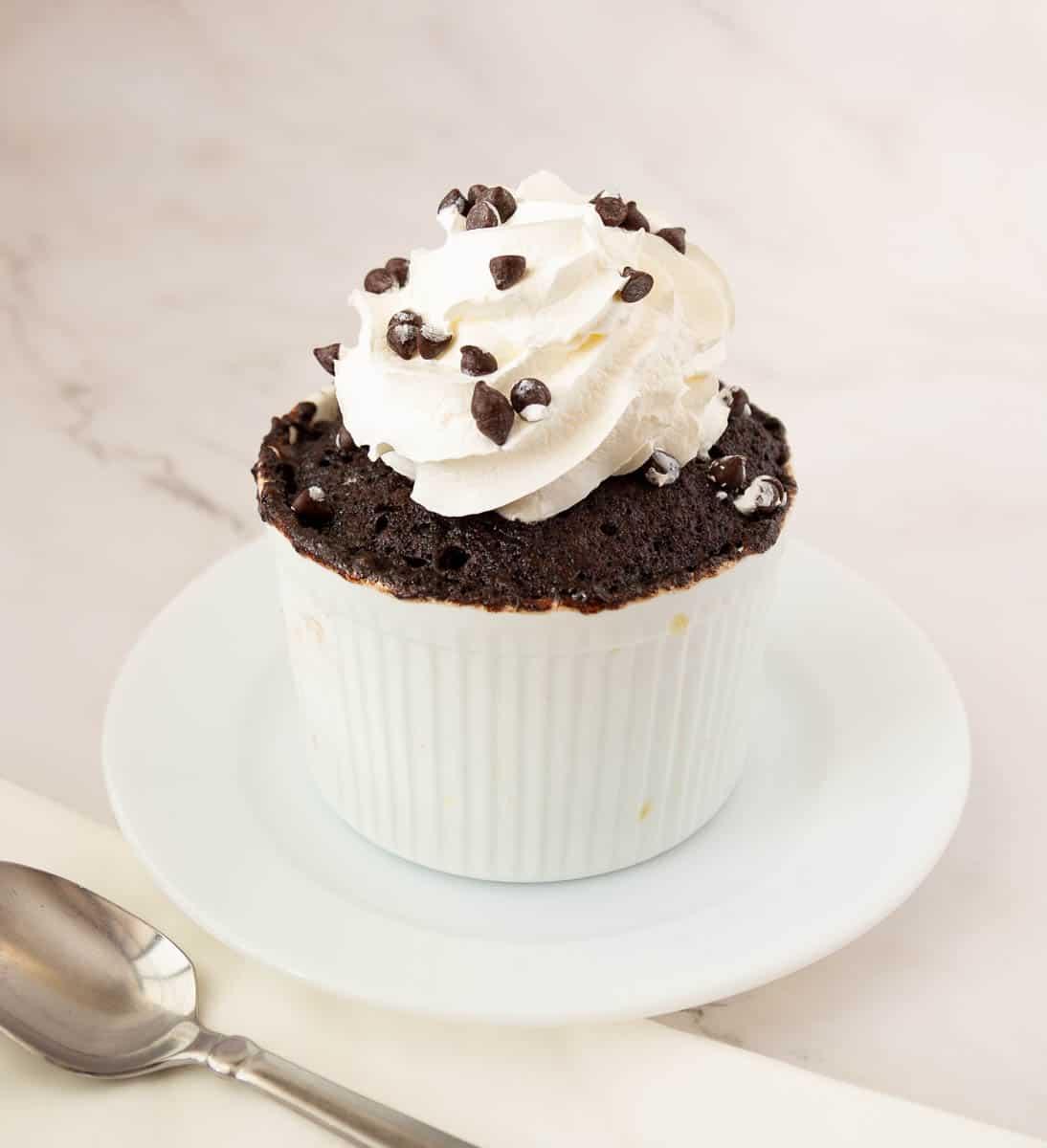 Mug cake topped with whipped cream.