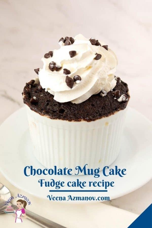 Pinterest image chocolate fudge mug cake.