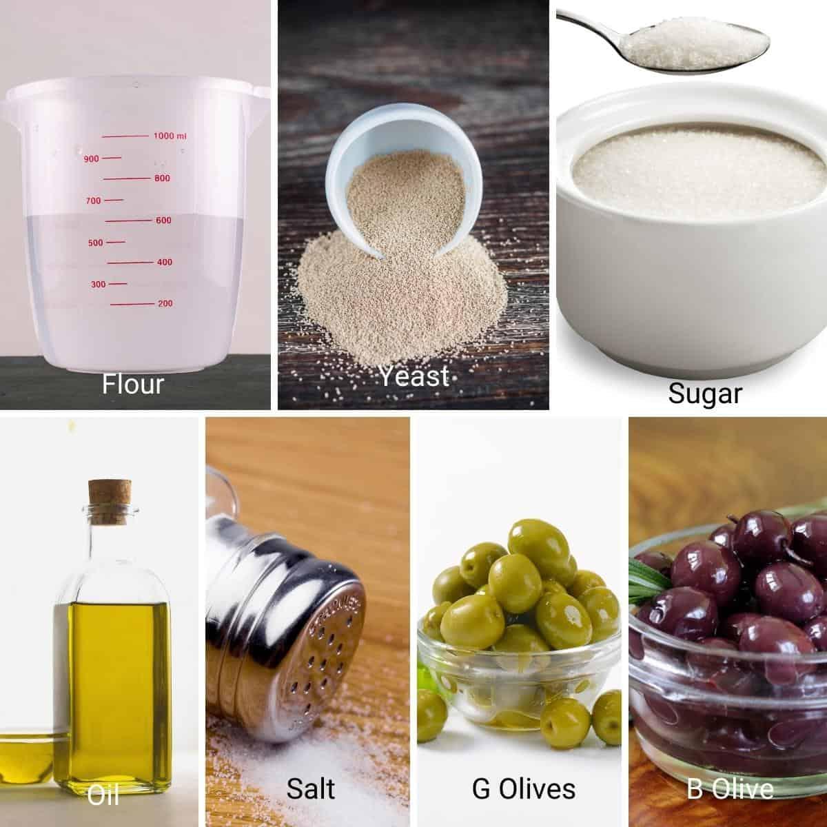 Ingredients shot collage for olive bread.