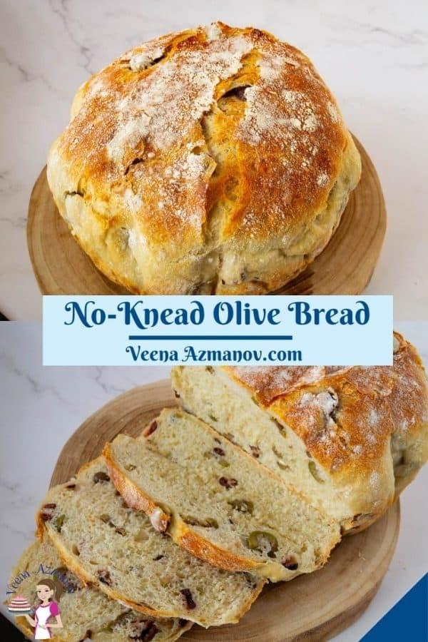 Pinterest image for olive bread.