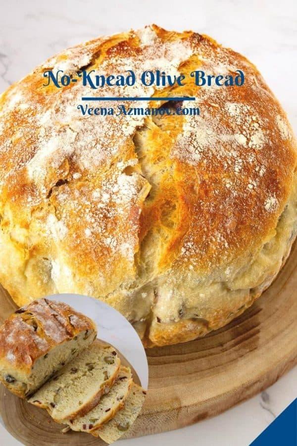 Pinterest image for olive bread recipe.