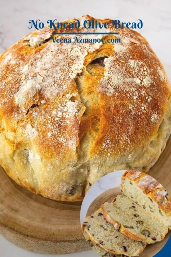 Pinterest image for no-knead bread with olives.