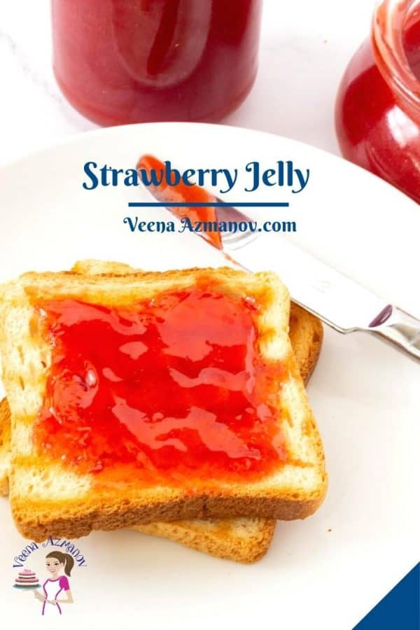 Pinterest image for strawberry jelly with pectin.