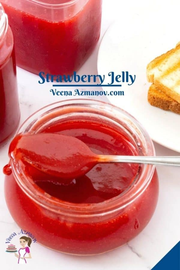 Pinterest image for jelly - strawberry with pectin.