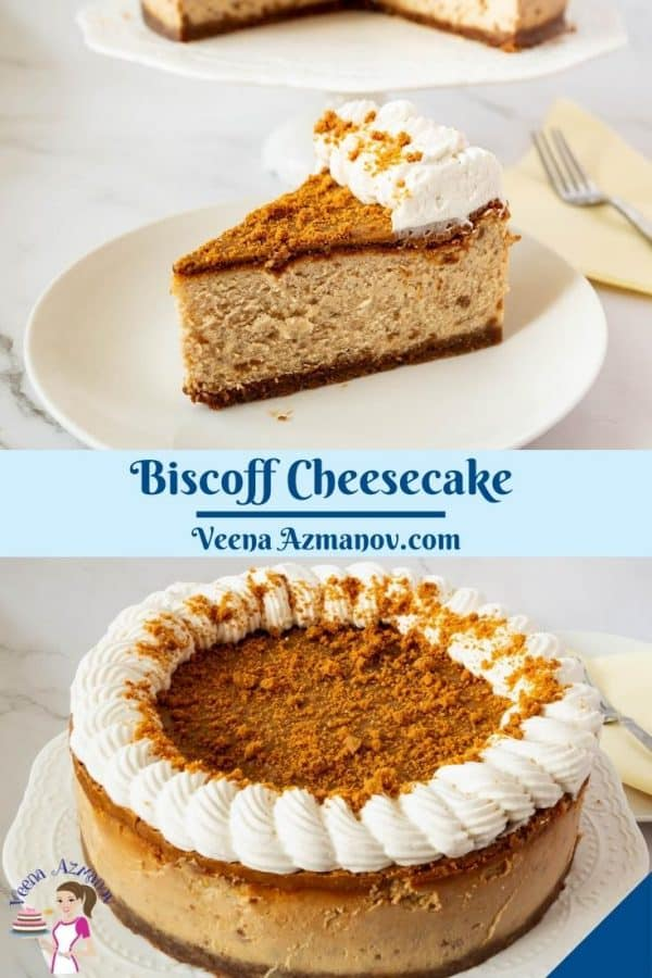 Pinterest image for cheesecake with biscoff paste.