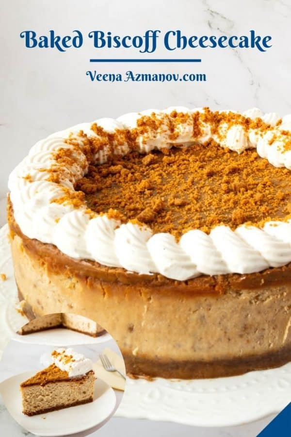 Pinterest image for cheesecake with biscoff.