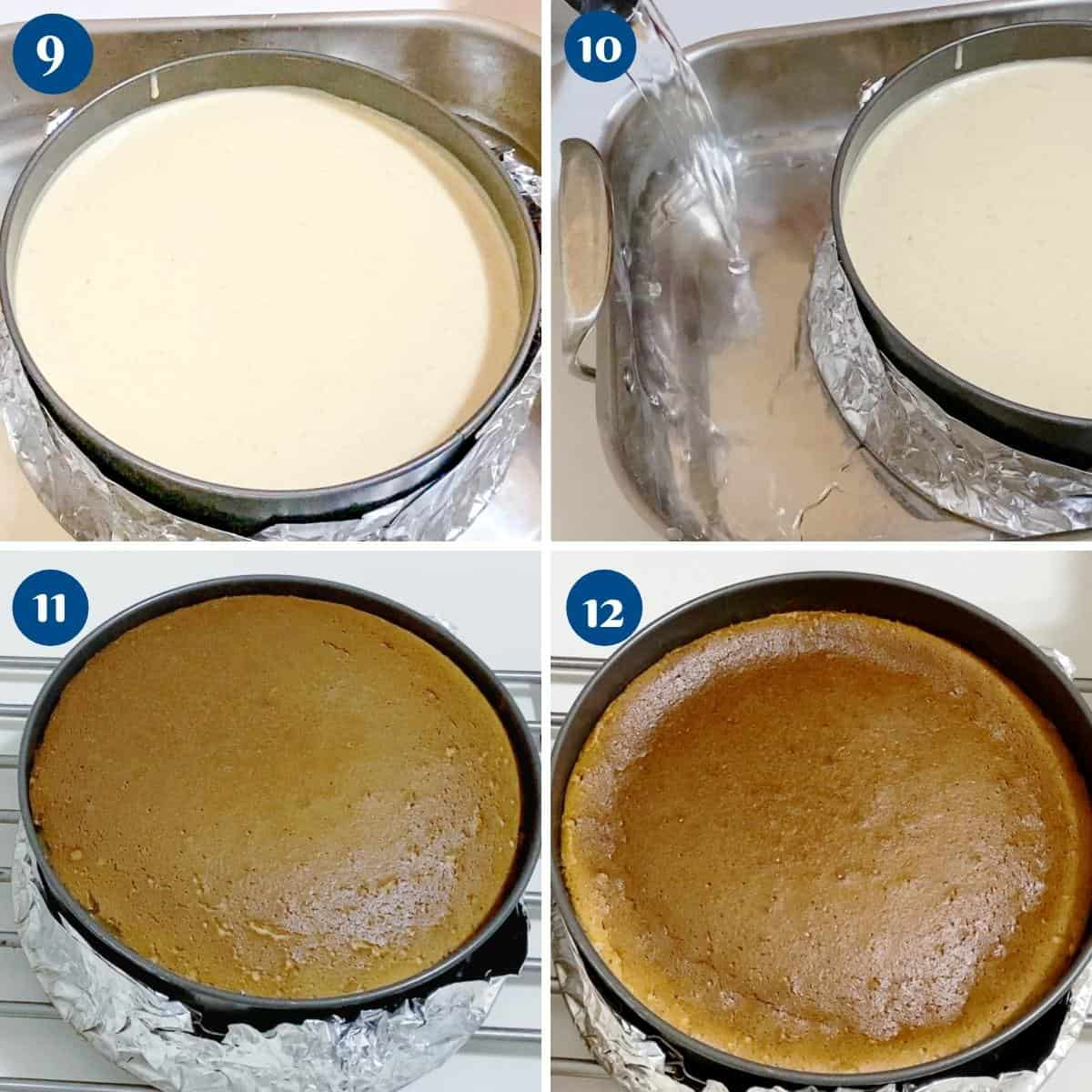 Progress pictures collage double boiler for cheesecake with biscoff.