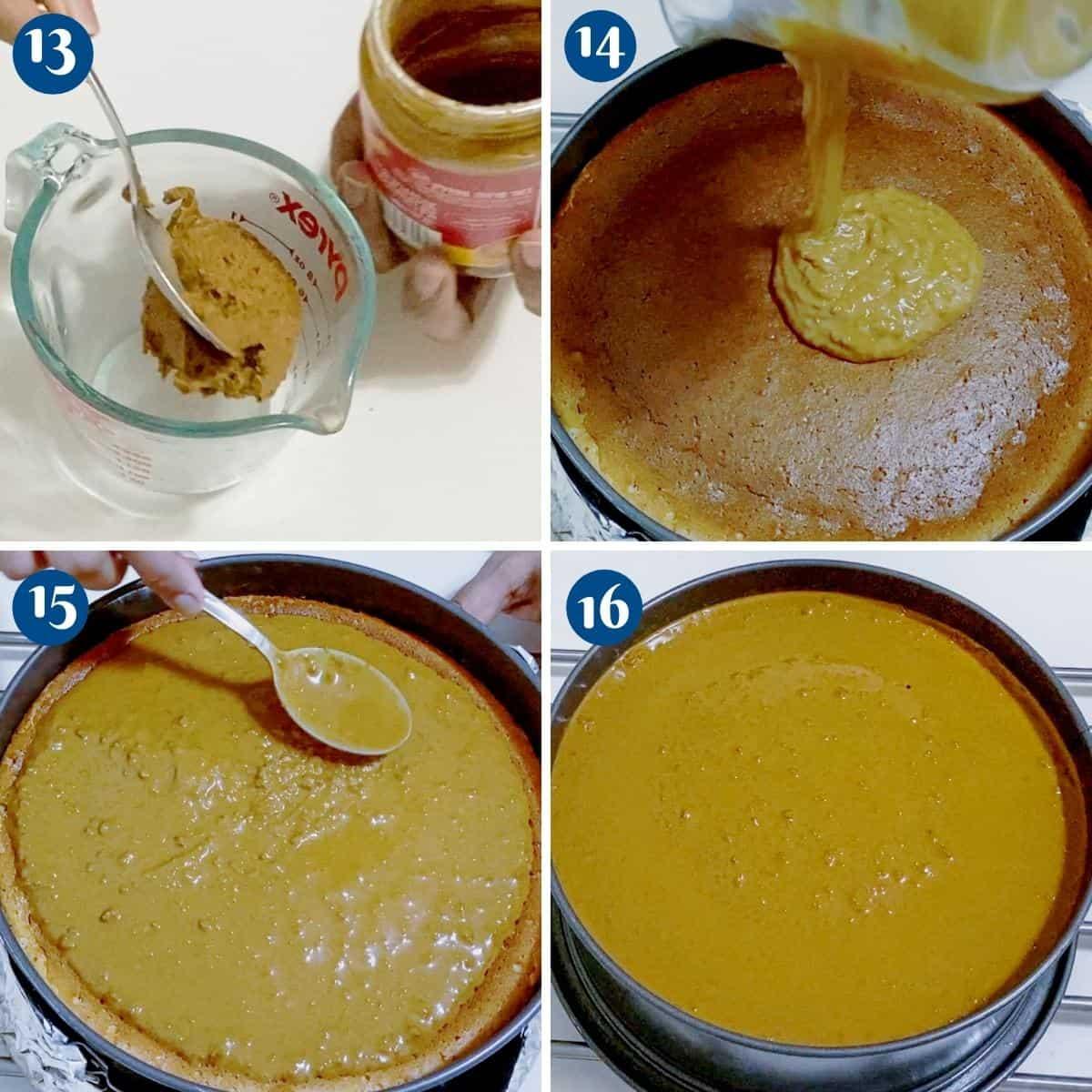 Progress pictures collage biscoff glaze on cheesecake.