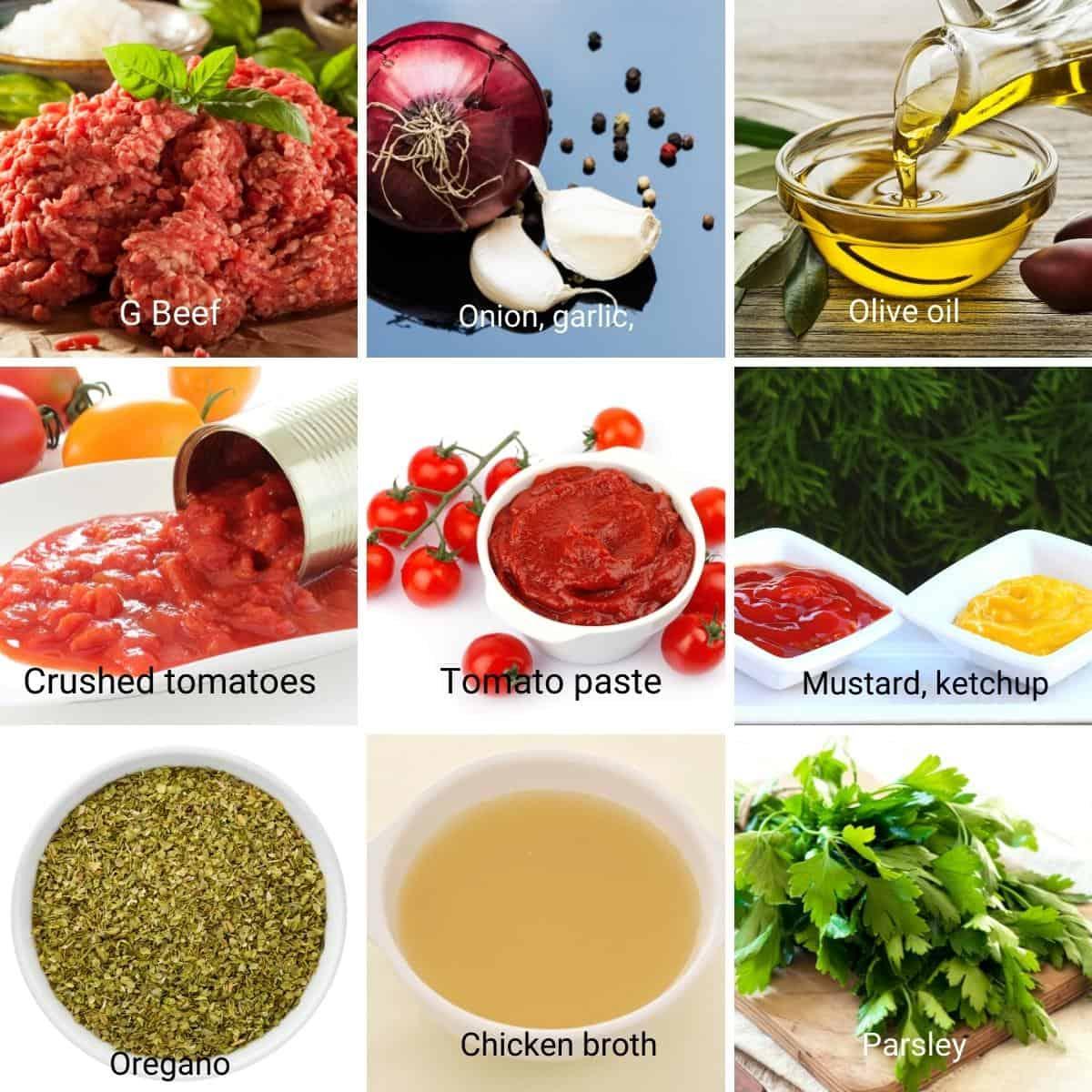 Ingredients for hamburger casserole.