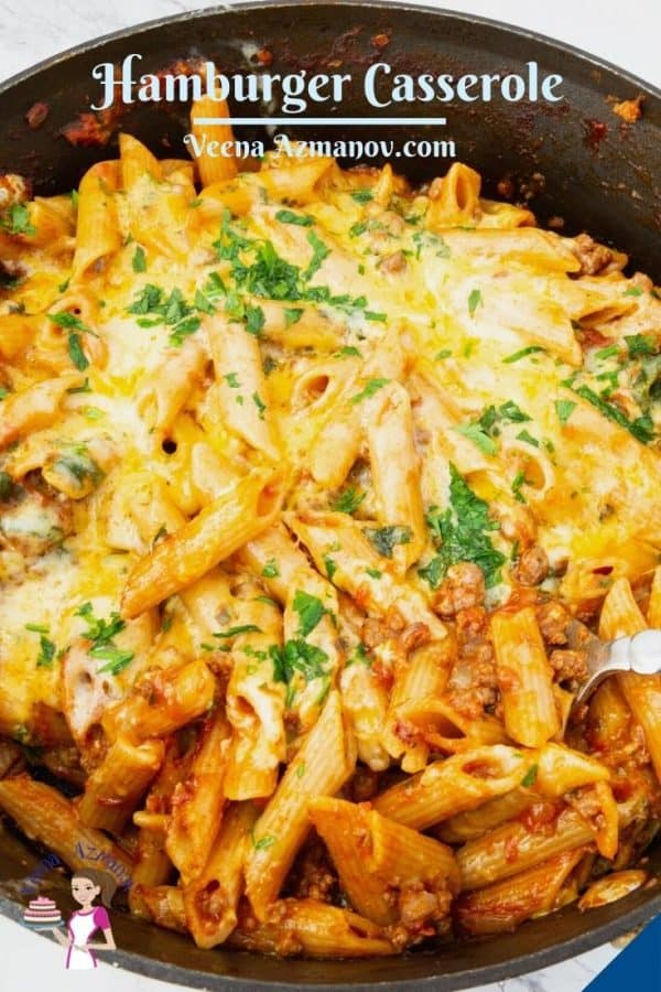 Pinterest image for cheeseburger casserole.