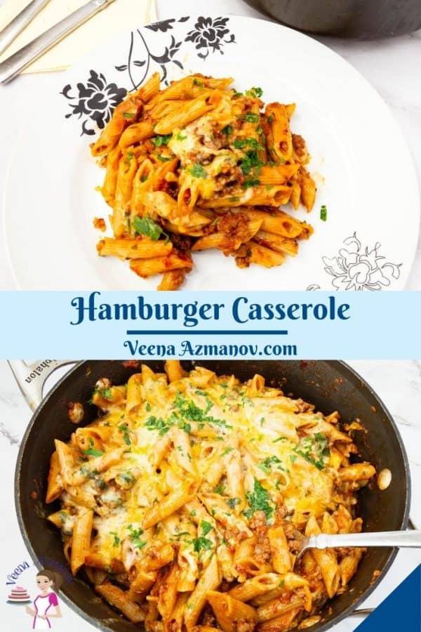 Pinterest image for Hamburger Casserole.