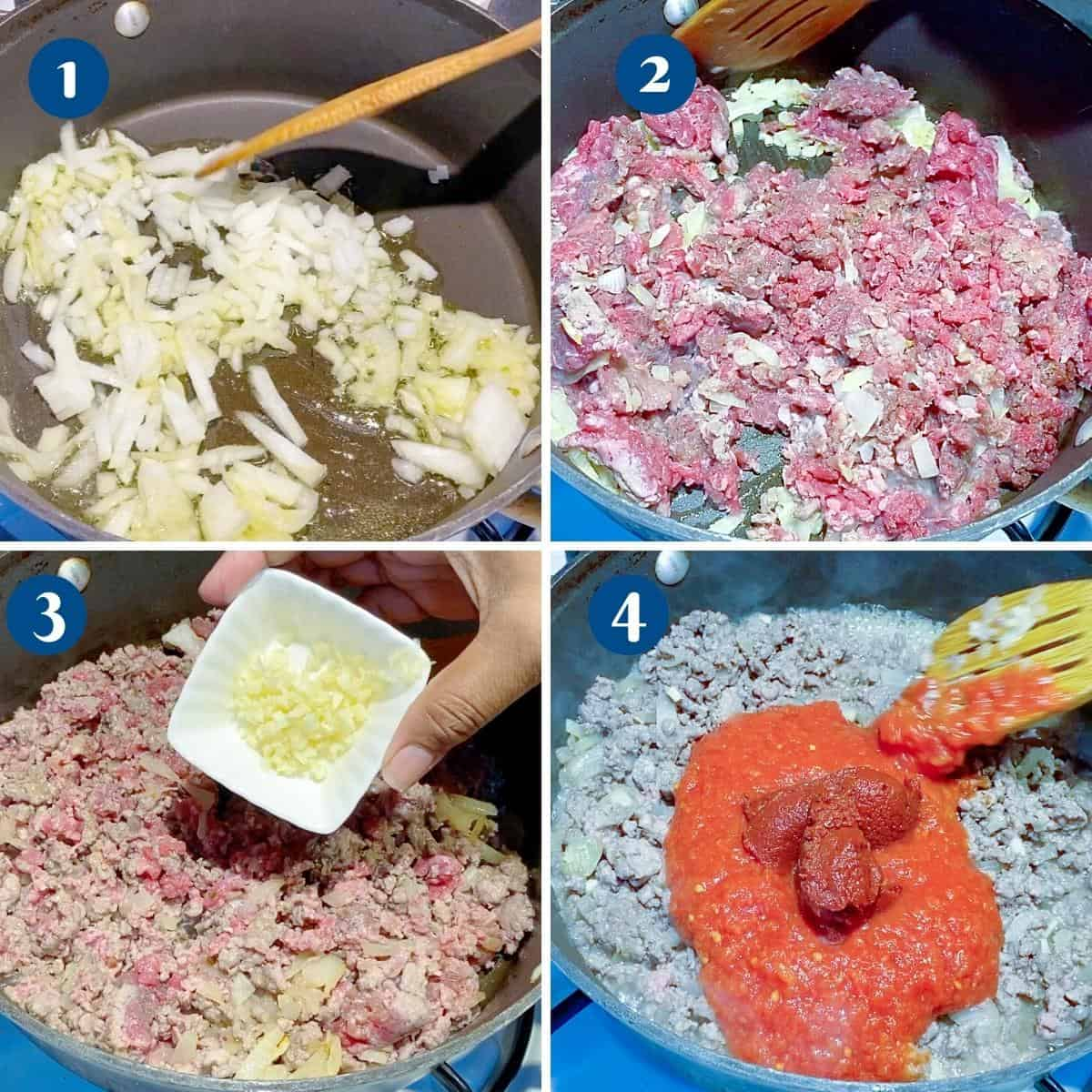 Progress pictures collage sautéing ground beef.