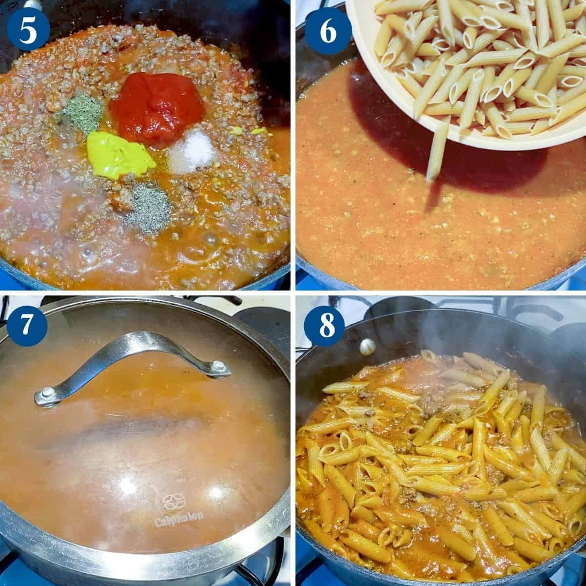 Progress pictures collage making ground beef with pasta.
