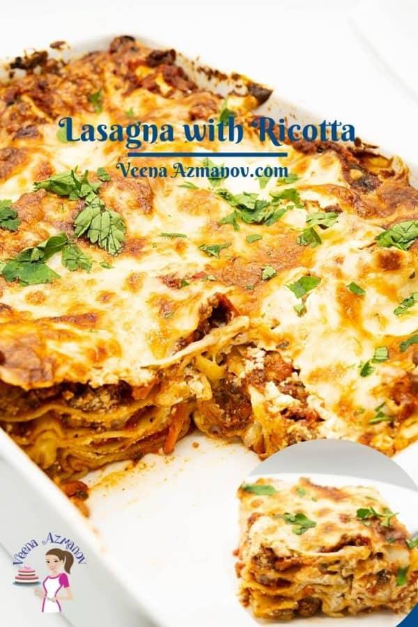 Pinterest image for lasagna.