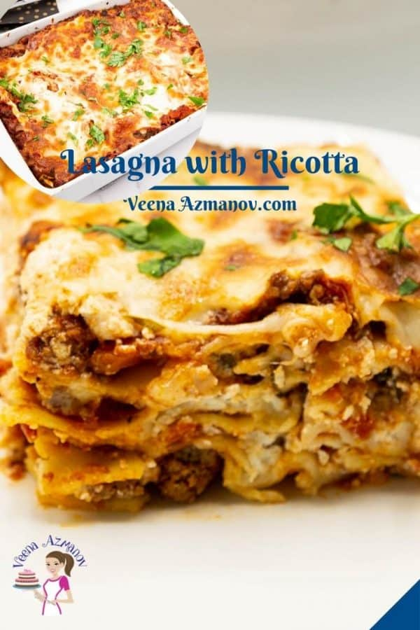 Pinterest image for lasagna with ricotta.
