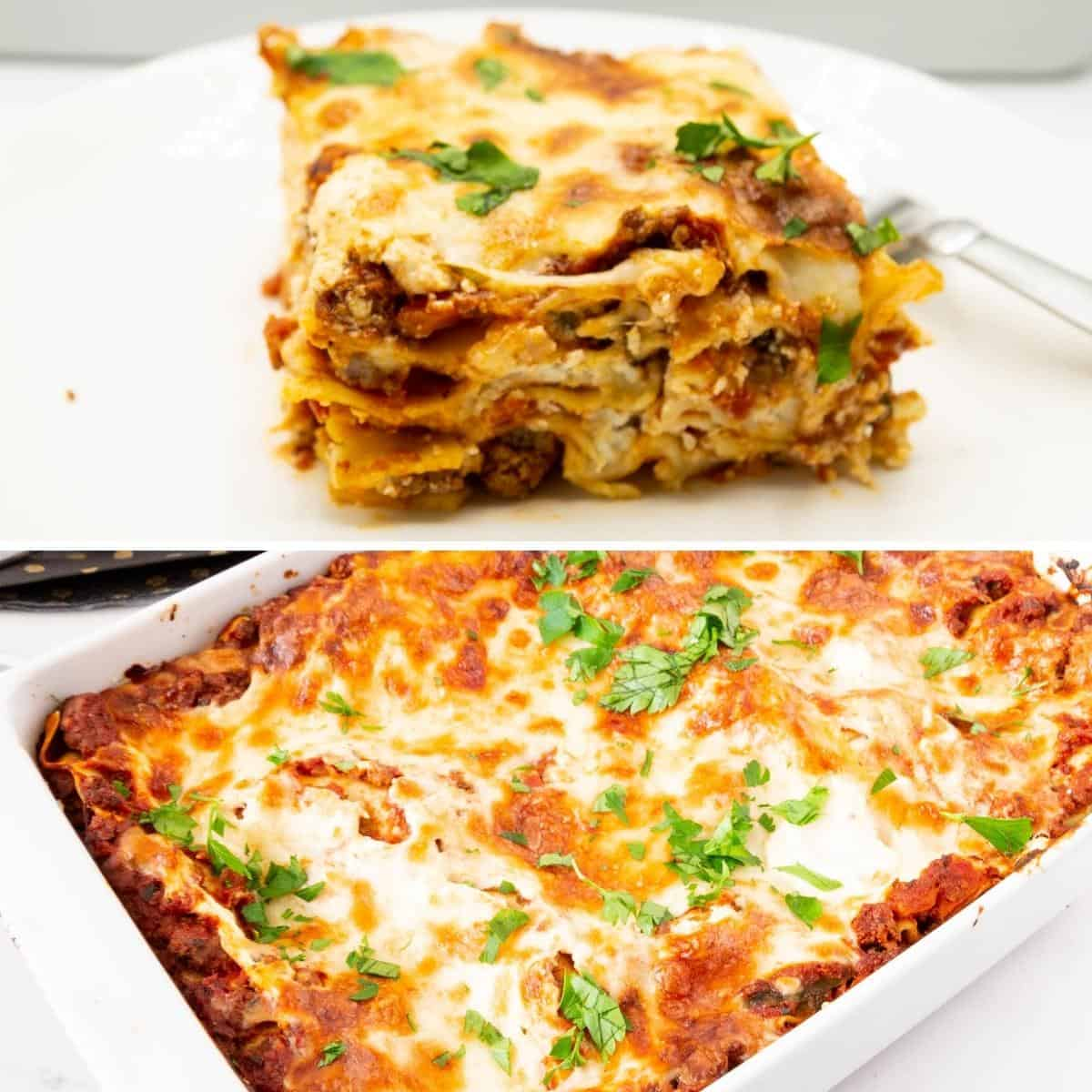 Collage showing layers of the lasagna noodles.