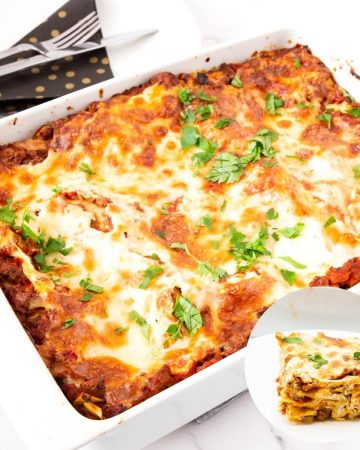 A casserole dish with baked lasagna.