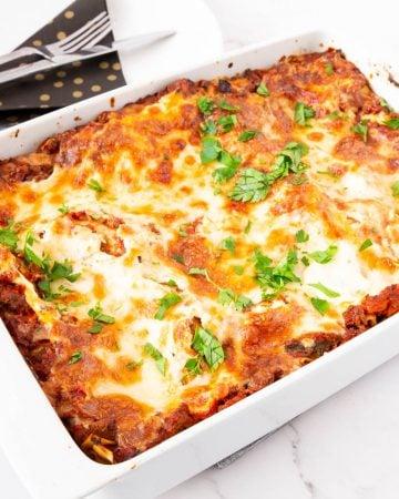 A baking dish with baked lasagna.