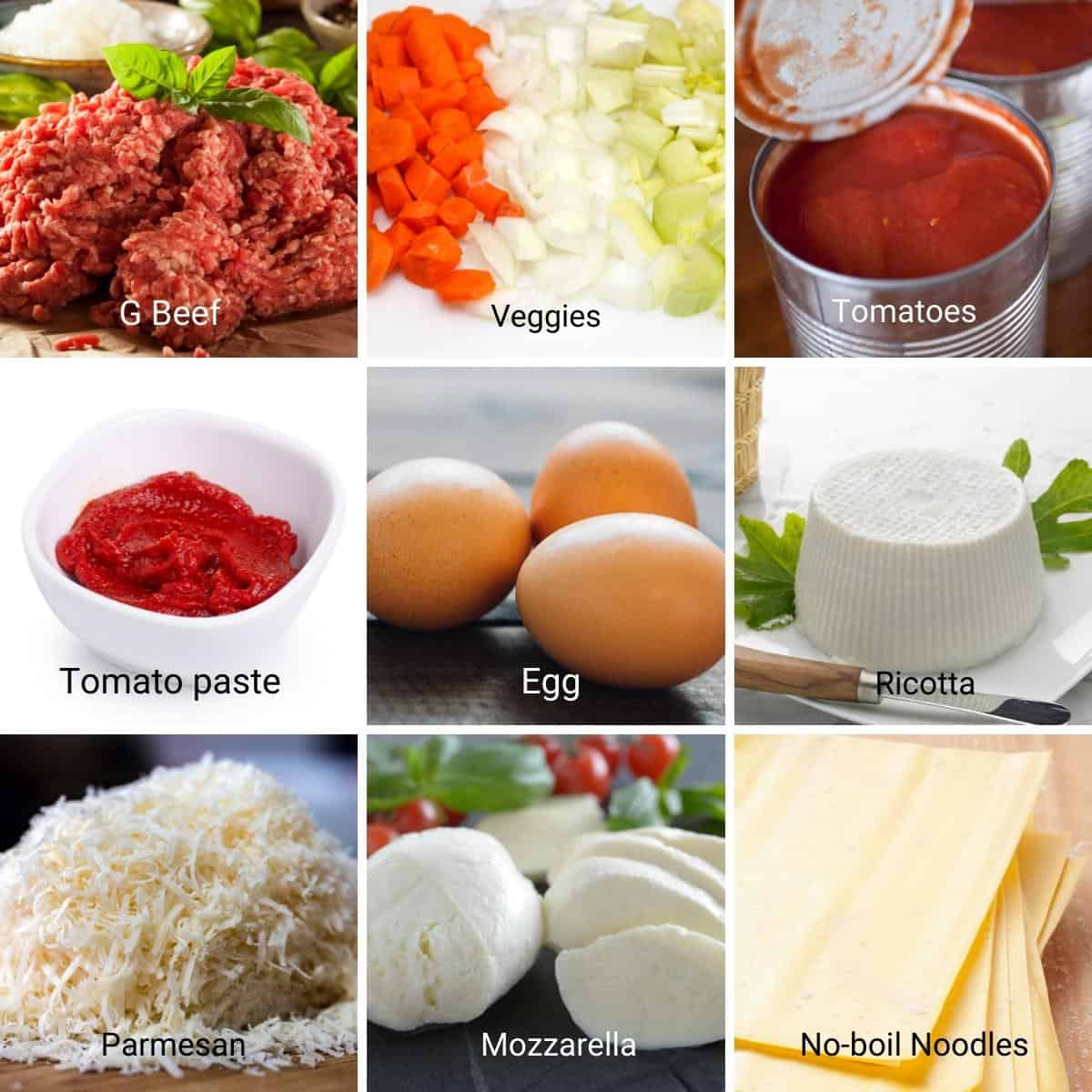 Collage - Ingredients for lasagna.
