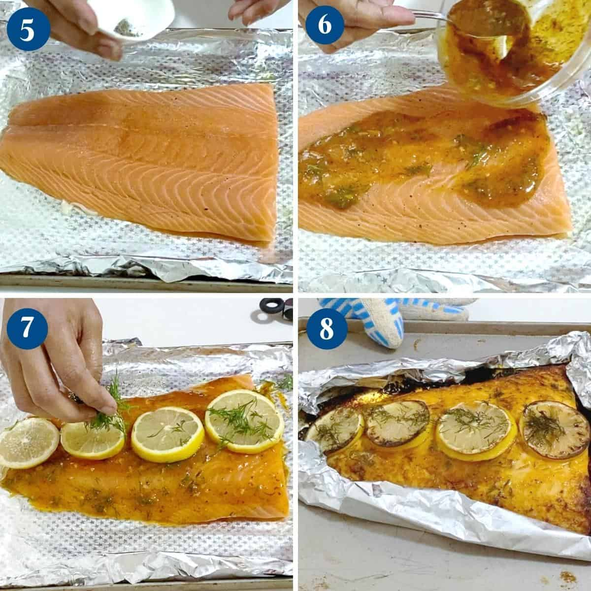 Progress Pictures for Oven Baked Salmon.
