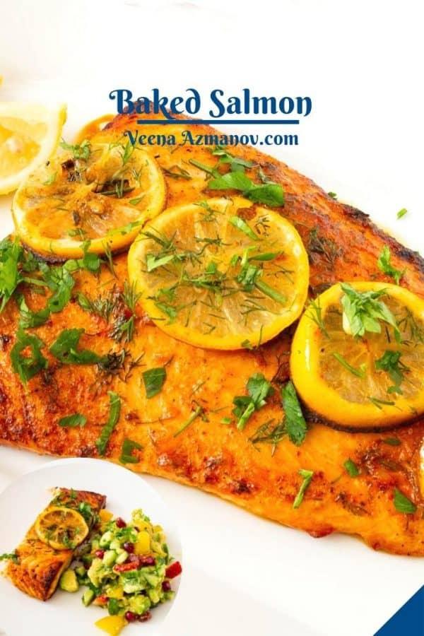 Pinterest image for salmon oven-baked.