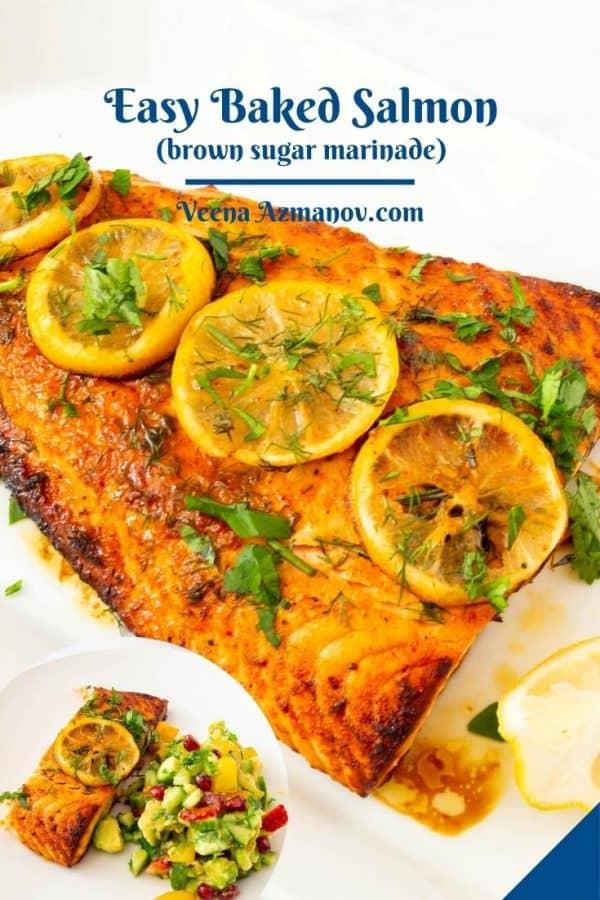 Pinterest image for Oven-baked Salmon.