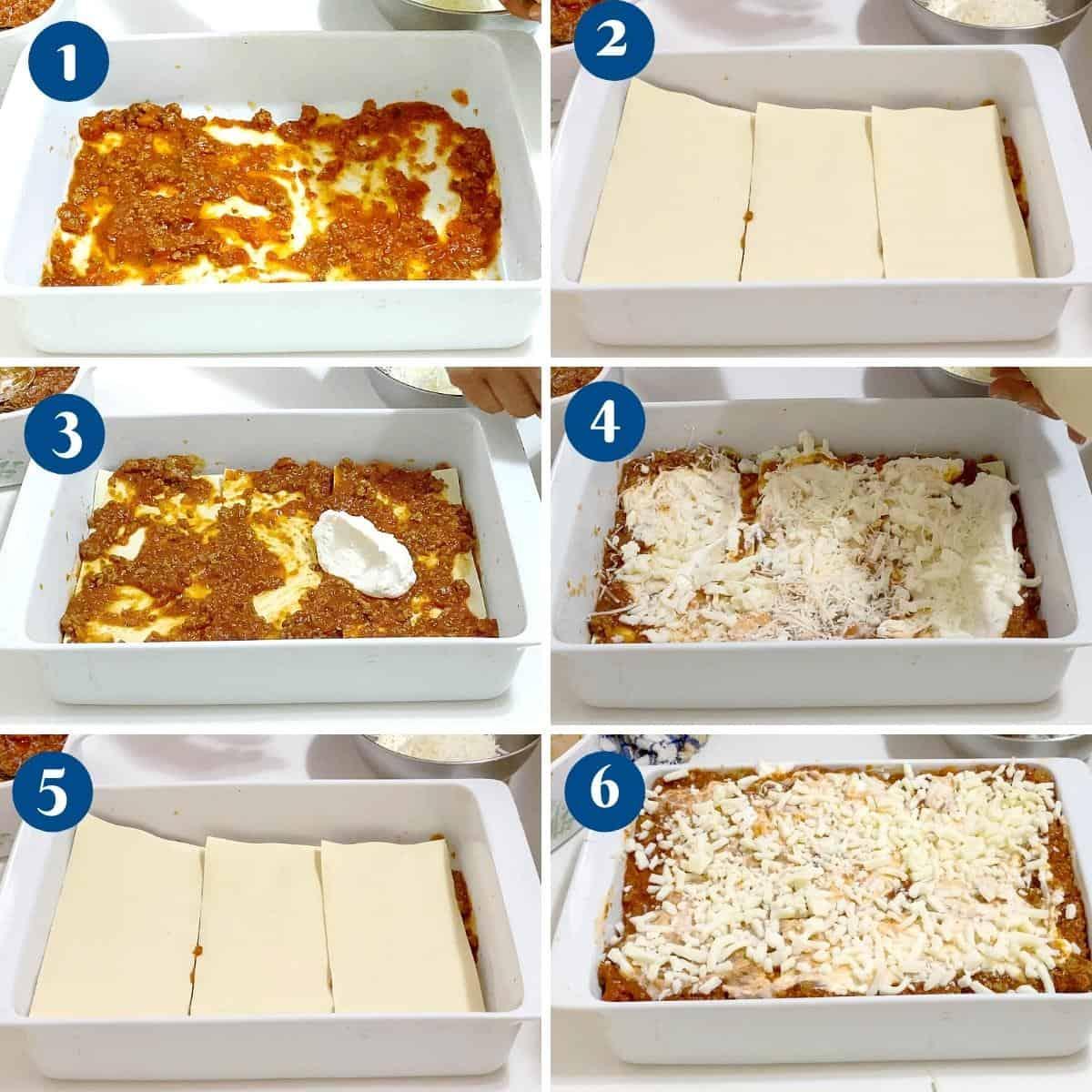 Progress pictures - how to layer lasagna noodles