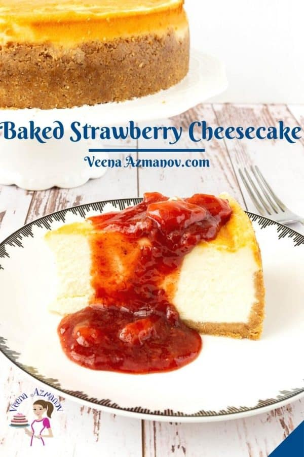 Pinterest image for cheesecake strawberry.