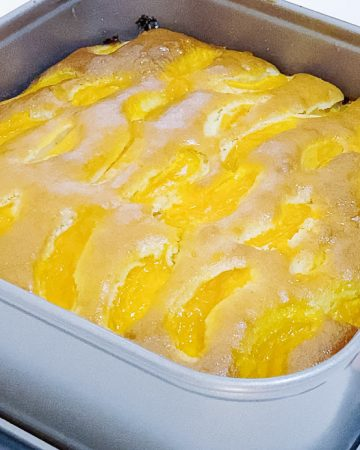 Fresh apricot cake out of the oven.