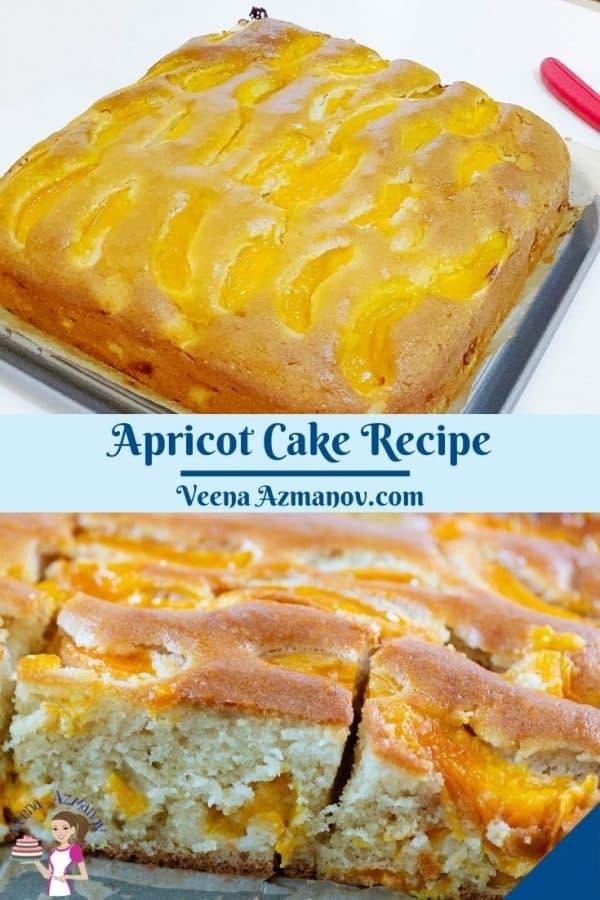Pinterest image for fresh apricot cake.
