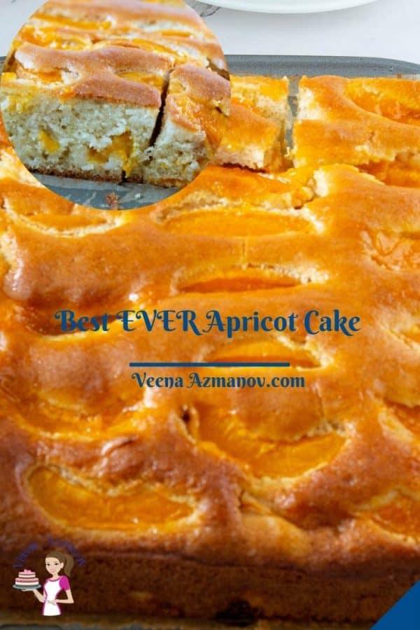 Pinterest image for apricot cake.
