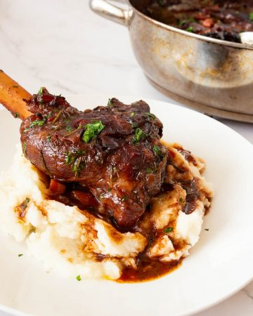 A plate with shank of lamb and red wine gravy.