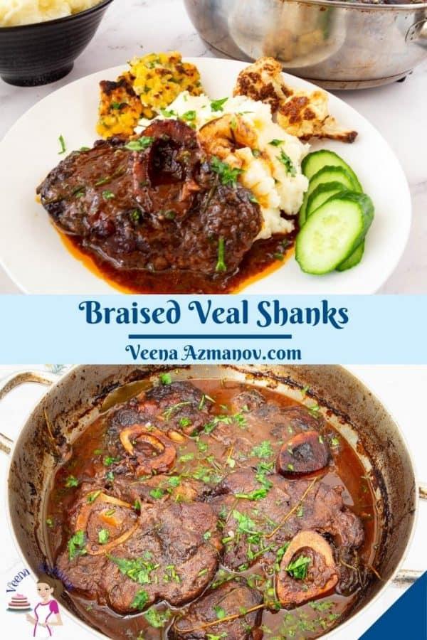 Pinterest image for braised veal shank.