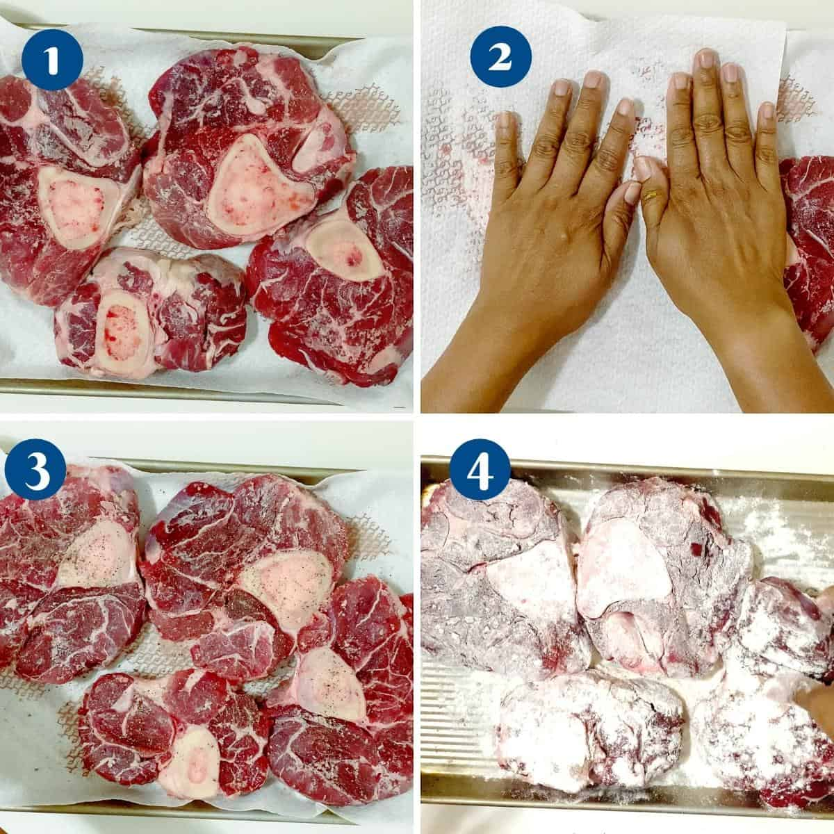 Progress pictures seasoning and coating the Osso Buco.