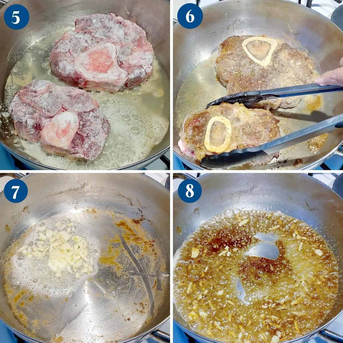 Progress pictures searing the osso buco on the pan.