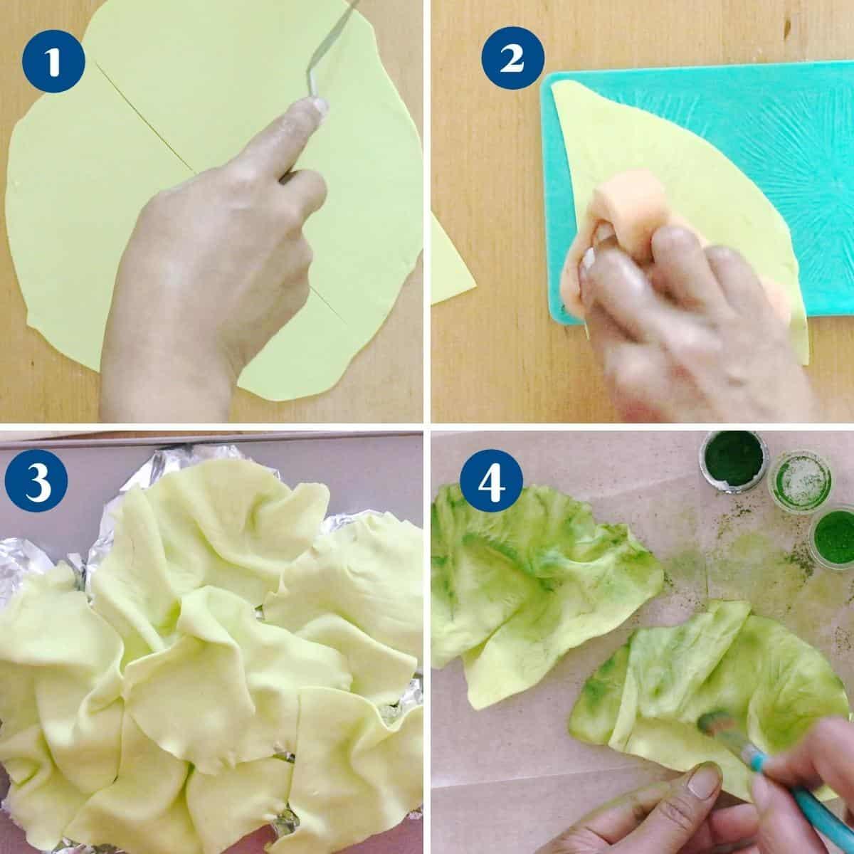 Progress pictures collage making the gumpaste lettuce.