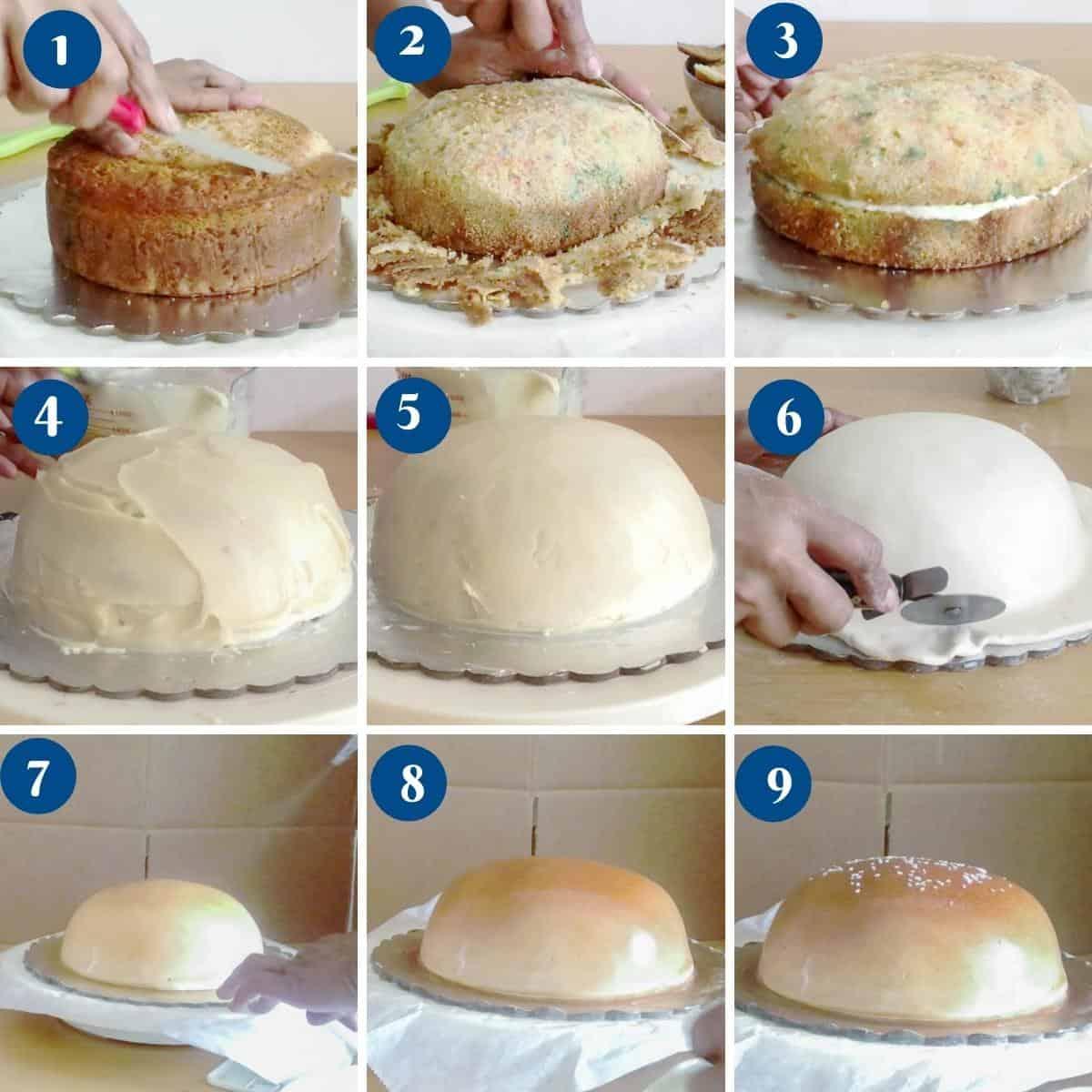 Progress pictures making the hamburger bun top for the burger cake