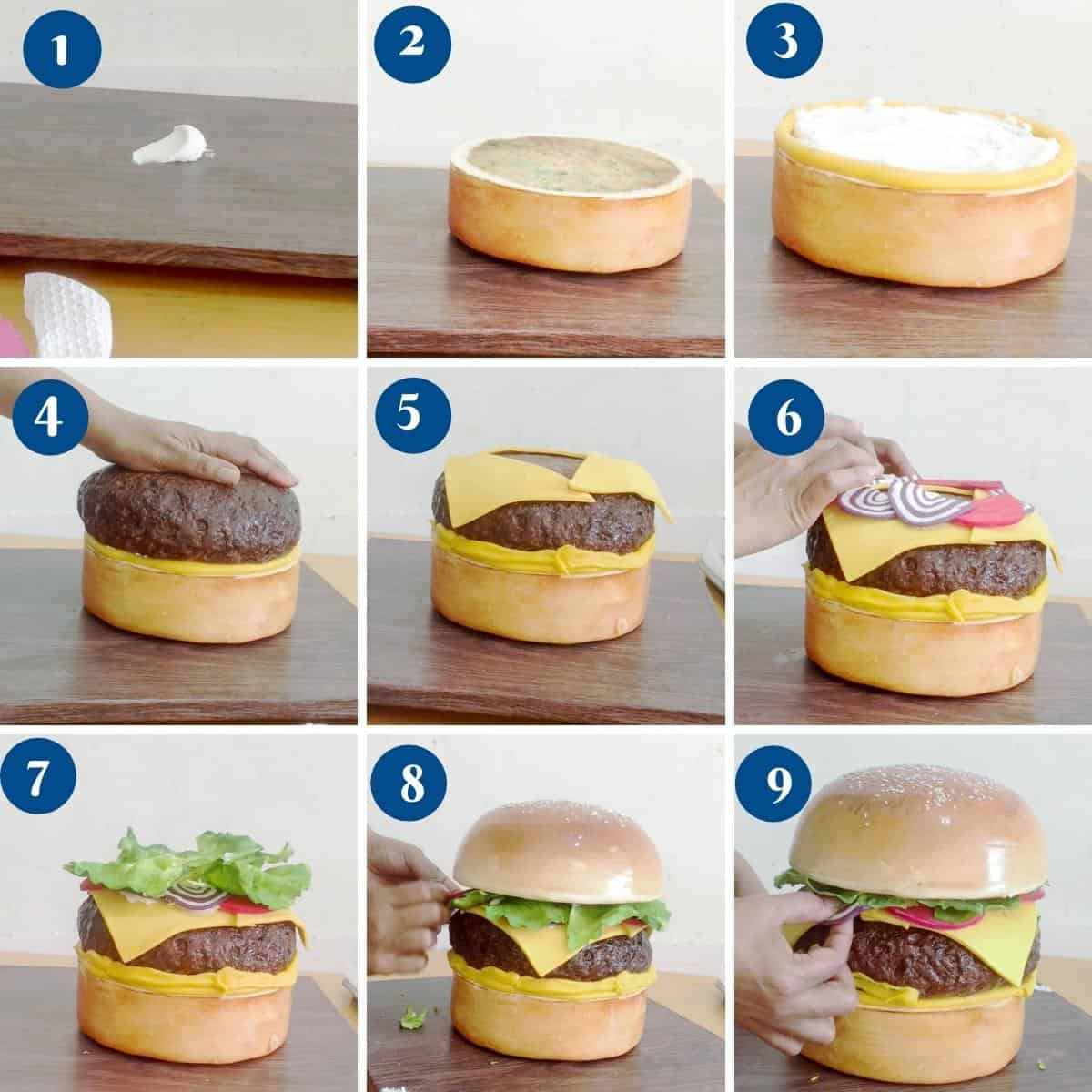 Progress pictures - assembling the hamburger cake on the cake board.