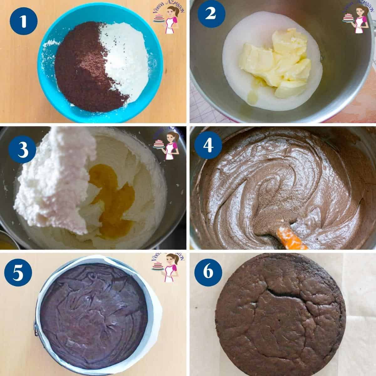 Progress pictures collage for making the chocolate cake.
