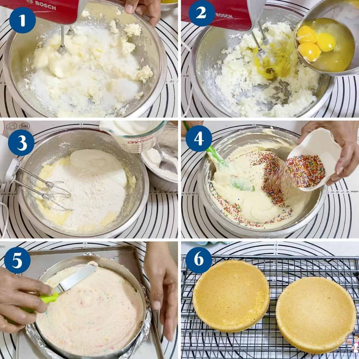Progress pictures baking the funfetti cake.