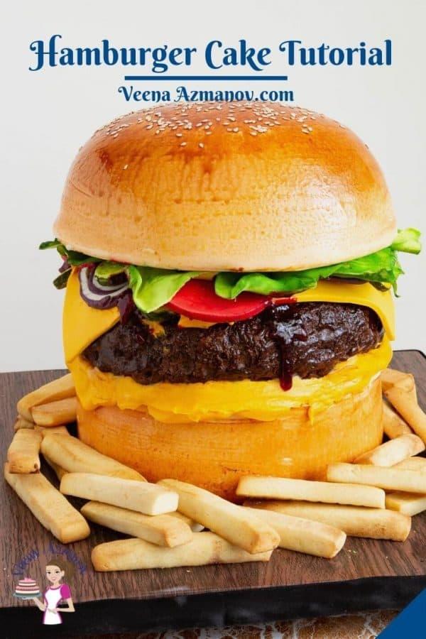 Pinterest image for burger cake.