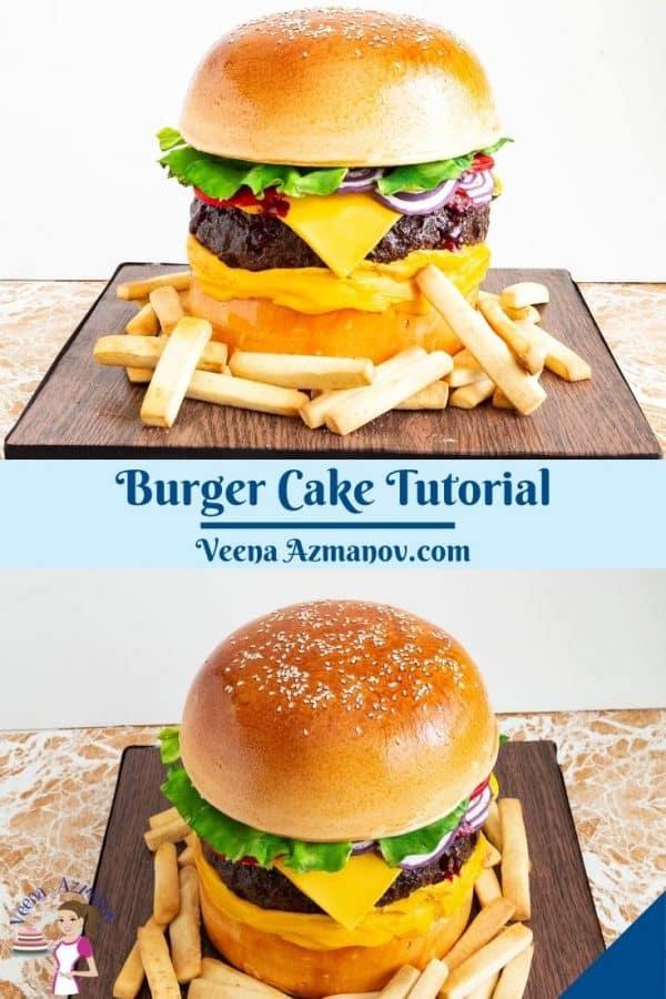 Pinterest image for hamburger cake.