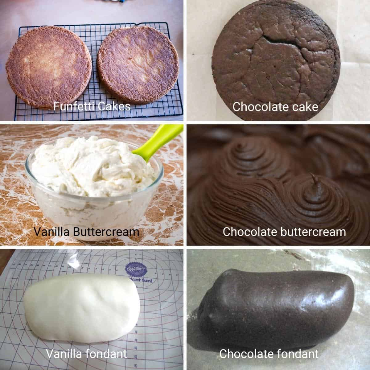 Ingredients you will need for the burger cake.