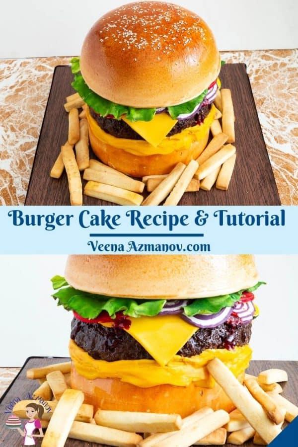 Pinterest image for cheeseburger cake.