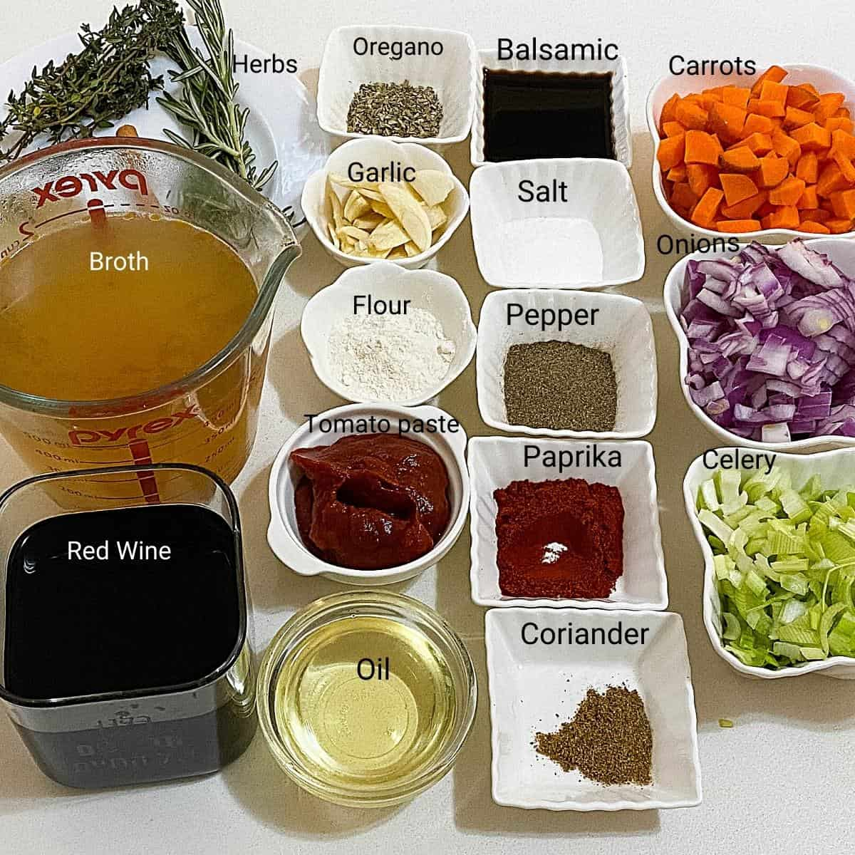 Ingredients needed for lamb shank.
