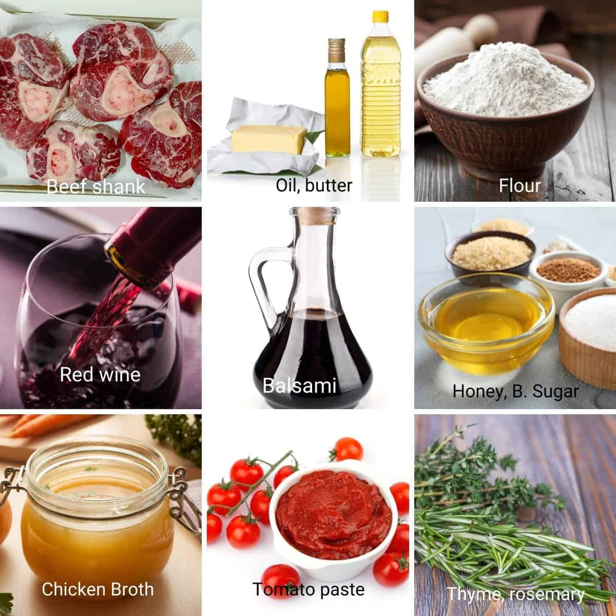 Ingredients for braised osso buco recipe.